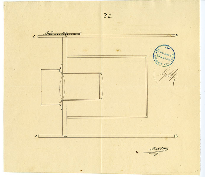 Document. Drawing by Friedrich von Martens of Megaskop Panoramic Camera, ca. 1854. PG*72.76.28.