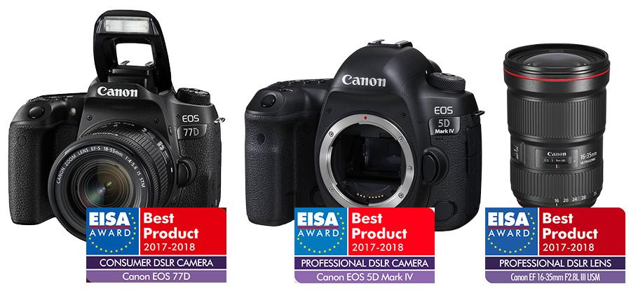 """d9bf654cd5ee ... legjobb fogyasztói DSLR fényképezőgép 2017-2018"""" díjat, míg az EF 16-35  mm F2.8L III USM """"A legjobb professzionális felhasználásra szánt DSLR  objektív ..."""